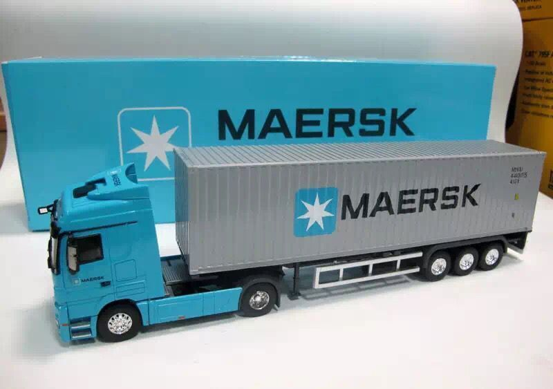 NEW 1 50 Mercedes Benz MAERSK container truck model