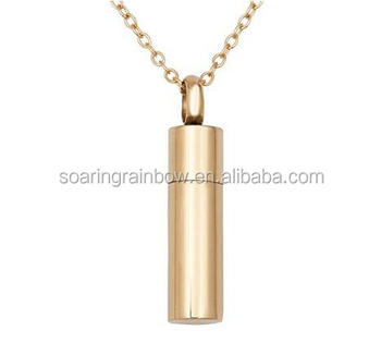 cremation jewellery Plain Gold Perfume Bottle Urn Pendant Necklace for Ashes Fashon Memorial Ash Keepsake Necklace