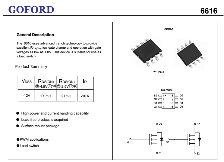 Dual p-channel power mosfet 6616 (AO4821) Sop-8 model substitute 4437, View  power mosfet, GOFORD Product Details from Shenzhen Goford Electronics Co ,