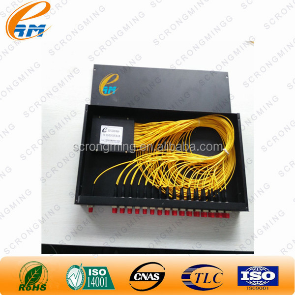 "0.9mm /2.0mm/3.0mm FTTH Passive Optical <strong>Network</strong> (PON) 19"" 1U Rack mounted PLC Splitter 1x32 for CATV with SC/pc connector"