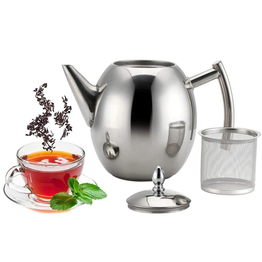 Ywillink 1.5L Stainless Steel Coffee Kettle Teapot Coffee Tea Cold Water Pot with Strainer Home Tea Tools