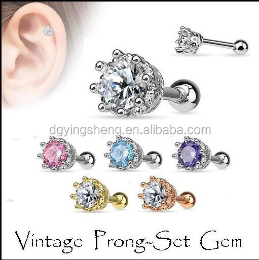 316L Surgical Steel Crown with CZ Ear cartilage stud earrings Tragus Piercing