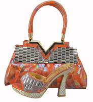 Orange African Ladies Evening Dress Shoes With Matching Bag 1308-38-3
