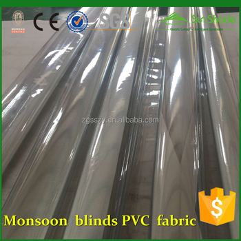 304 Stainless steel components Transparent PVC weather blinds/ High clear UV PVC fabric