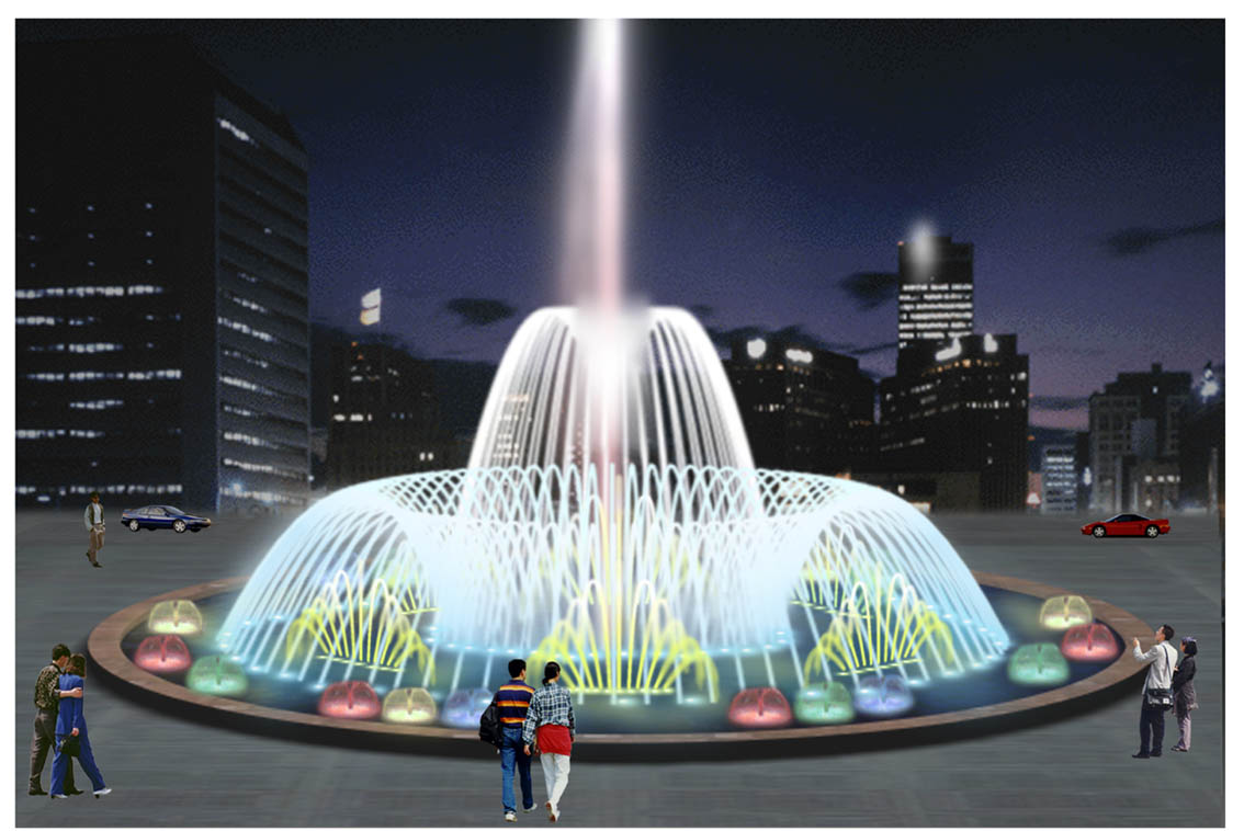 common square lighted outdoor wedding cake water fountains for sale