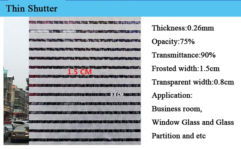 Thickening Frosted Static 45/60/90cm width Shutter Business Office Glass  Partition Glass Sticker Window Film Stripe Window Decor