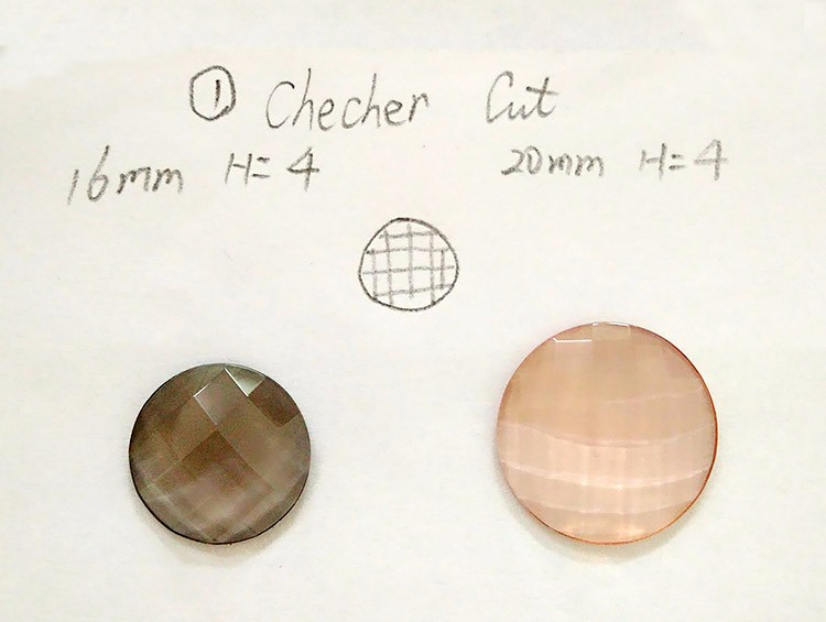 Round Checker Faceted Machine Cut Quality Flat Back Glass Gems