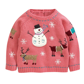winter knitted 100 cotton pullover baby girl christmas sweater