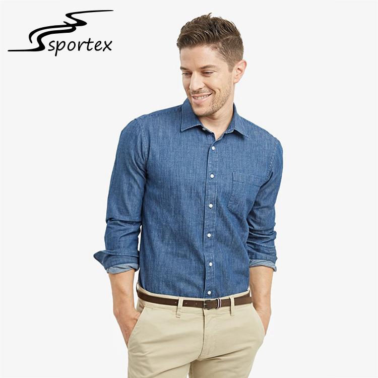 accd6e73d2e0a Wholesale Latest Jeans Shirts Design Long Sleeve Plain Color Custom Washed  Denim Shirt For Men
