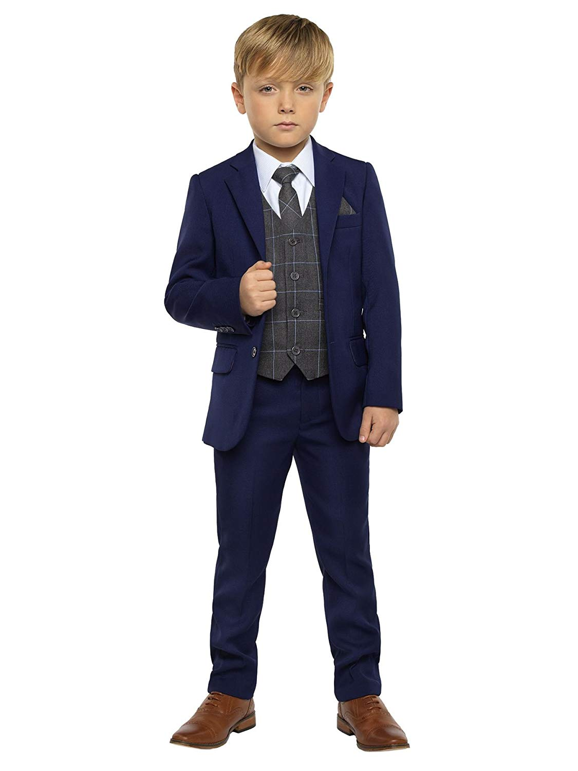 Rafael Collection Big Boys Navy Blue Fancy 5 Piece Vest Jacket Pants Special Occasion Suit 8-20