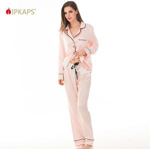 407950d0827 OEM Wholesale China 100% Silk Pajamas Women Long Sleeve Lady Sleepwear Set  Blank Custom Women