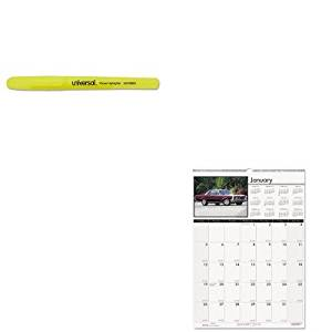 KITHOD3771UNV08851 - Value Kit - House Of Doolittle Classic Cars Monthly Wall Calendar (HOD3771) and Universal Pocket Clip Highlighter (UNV08851)