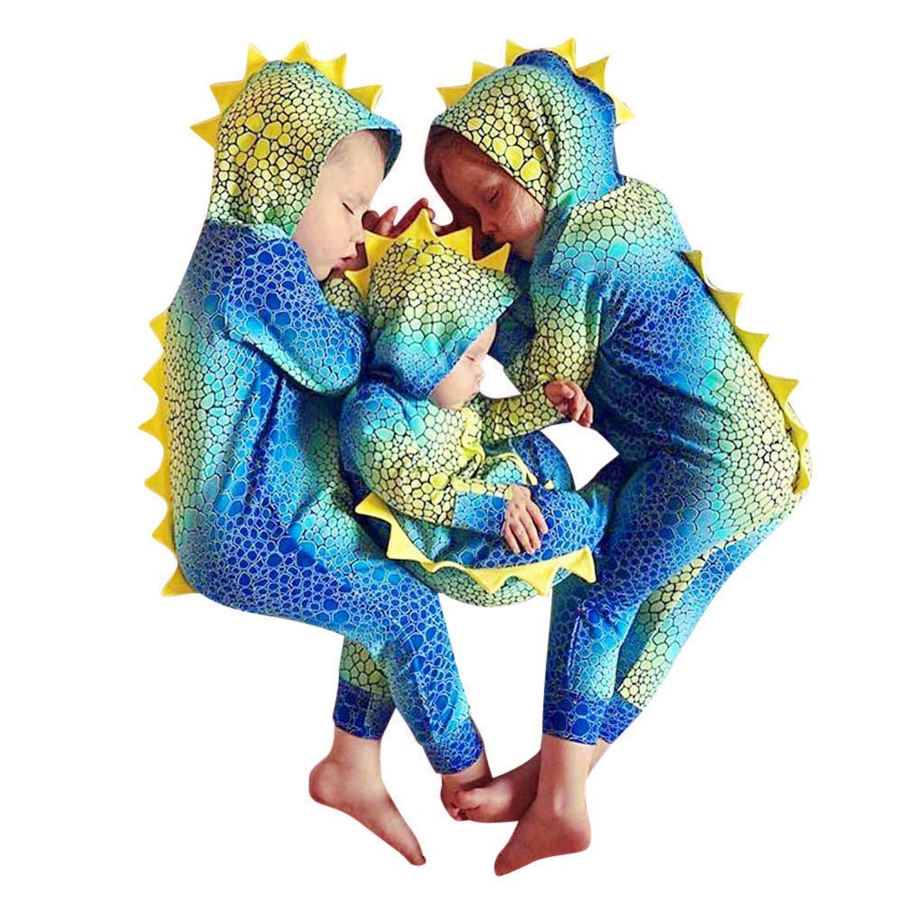 Outtop(TM) Baby Boys Girls Jumpsuits Romper Toddler Infant Fall Cartoon Dinosaur Gradient Color Hooded Pajamas Sleepwear