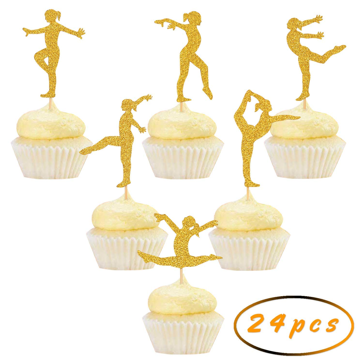 Get Quotations Gold Glitter Gymnastics Cupcake ToppersGymnast Girl Birthday Party Decorations 24pcs