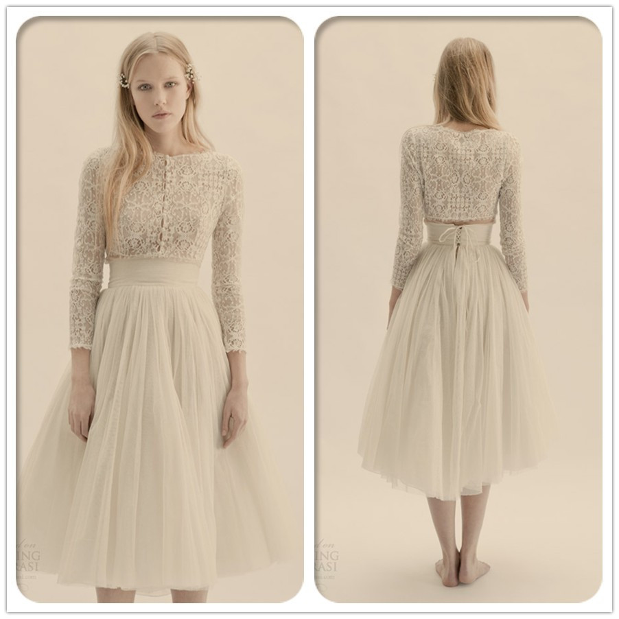 Vintage Wedding Dress 2 Piece: Free Shipping CW1624 Lace Long Sleeve Tea Length Vintage