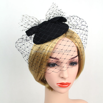 Wholesale Wedding Party Girls Sexy Black Veil Mini Wool Felt Fascinator Hat b4c59152456