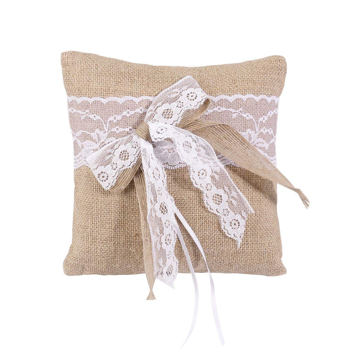 Vosarea Wedding Ring Pillow Hessian Burlap Bridal Bearer Holder Cushion With Lace: Wedding Burlap And Lace Ring Pillow At Websimilar.org