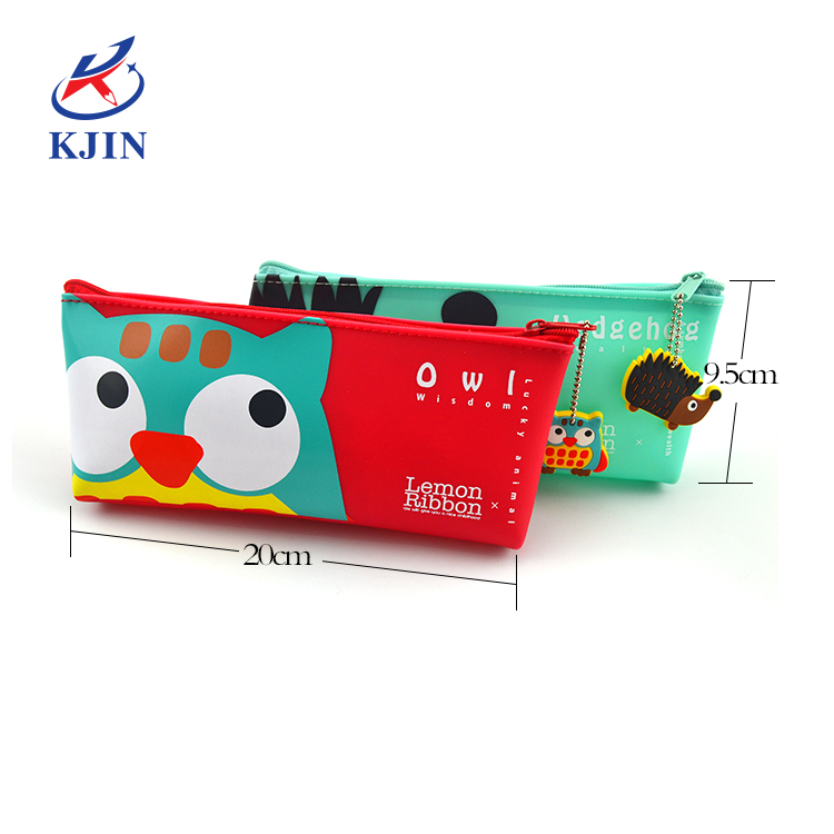 Soft touch PVC colorful pencil case for kids Double side printing pencil case