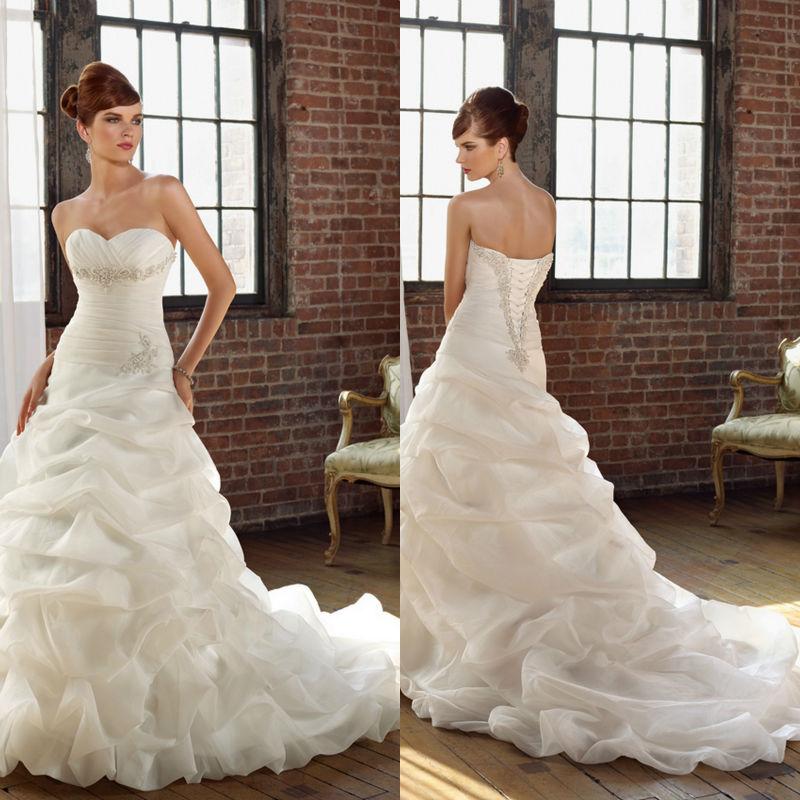 Low Waist Wedding Gowns: Mermaid Brand Long Train Sweetheart Ruffles Pleat Sliver