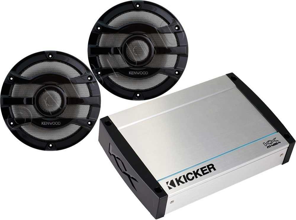 Bundle of 2 items: 40KXM400.4 4-Channel Marine Amplifier with 8 2-way Marine Speakers (Black)