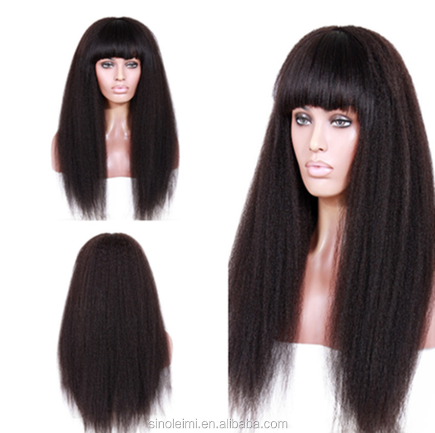wholesale raw natural yaki silk base full lace wig with hair bangs