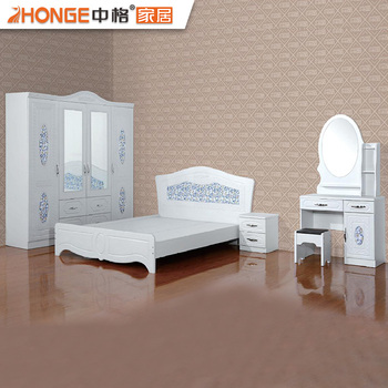 2017 Hot Sale Cheap High Gloss MDF White Bedroom Set Modern