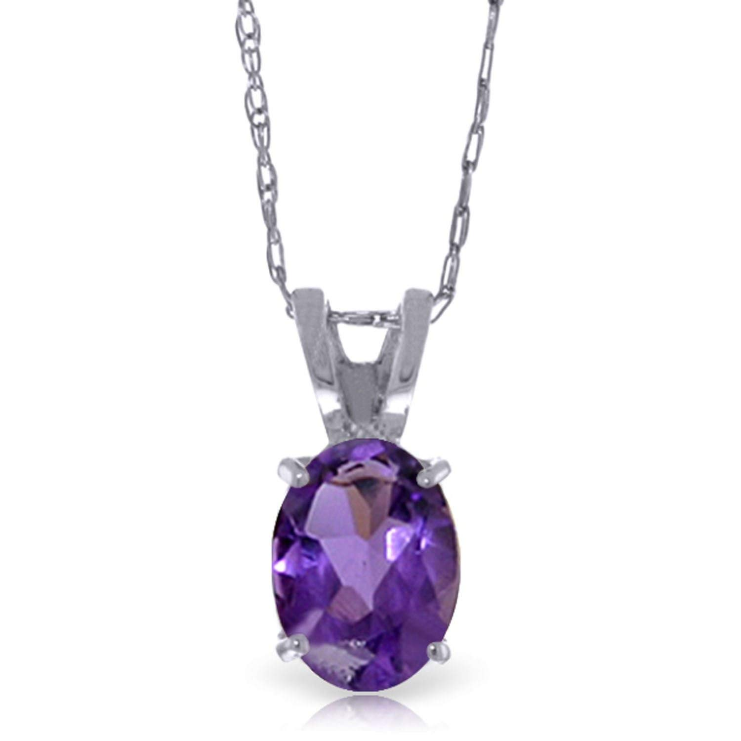 ALARRI 3.65 Carat 14K Solid White Gold Fleurs Rustique Amethyst Pearl Necklace with 22 Inch Chain Length