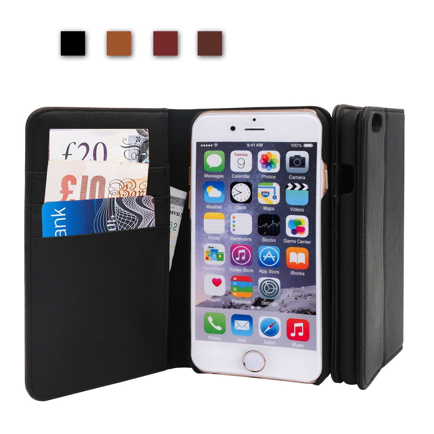 iPhone 6 Case iPhone 6S Case, Shalwinn Genuine Leather Wallet Case, Classic Folio Case with Stand and Card Slots, Magnetic Closure for iPhone 6 and iPhone 6S, (Black)