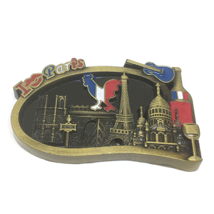 Promotional metal 3D Paris souvenir magnets fridge lapel pins