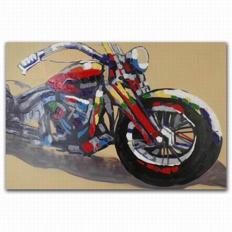 hand modern wall hanging motorcycle oil painting with frame