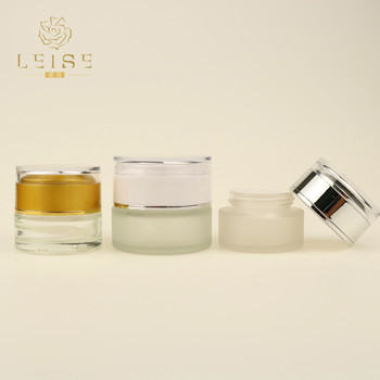 Hot sale glass cream jar with electro plating cap 5ml 10ml 20ml 30ml 50ml cosmetic jar for face cream