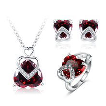 LZESHINE Garnet Red Color Heart Shaped Bridal Wedding Jewelry Sets Silver Plated Brass heart jewelry set