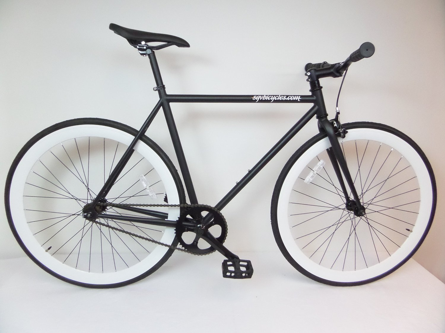 6d22ae92947 Get Quotations · Matte Black and White Fixie Single Speed Fixie Bike with  Flip Flop Hub By Sgvbicycles Fixies