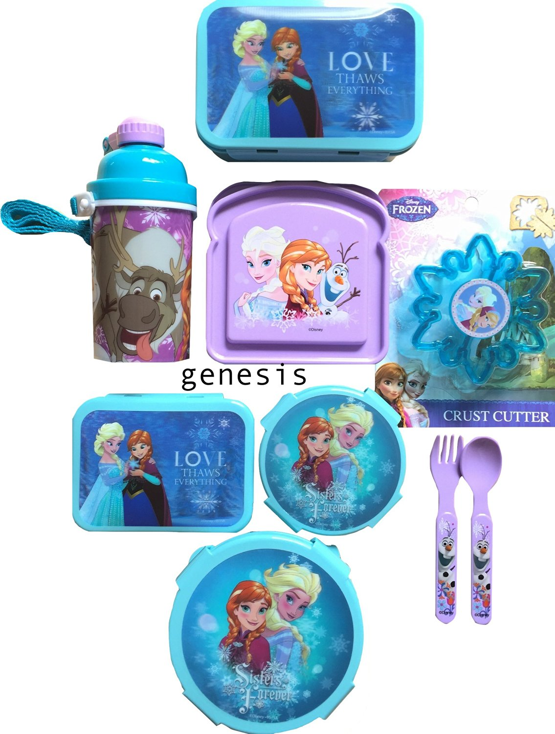 Disney Frozen 9Pc Children's Lunch Gift Set With Snack & Food Storages, Bottle, Crust Cutter & Utensils