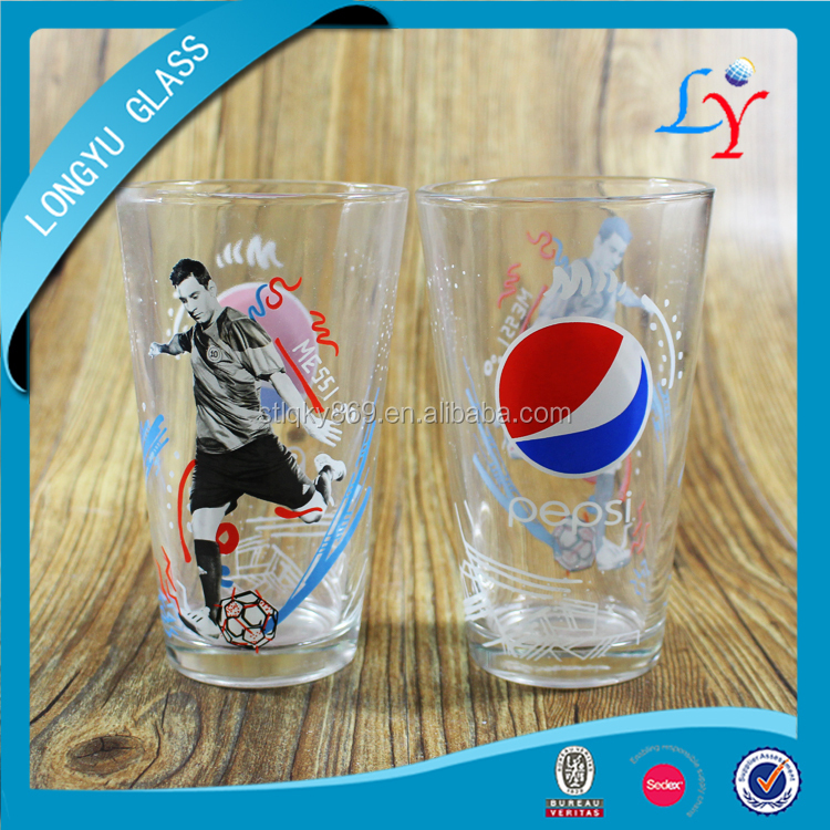Sedex Audit Factory design water glasses 16oz drinking water glass cups cheap price water glass for Pepsi world cup