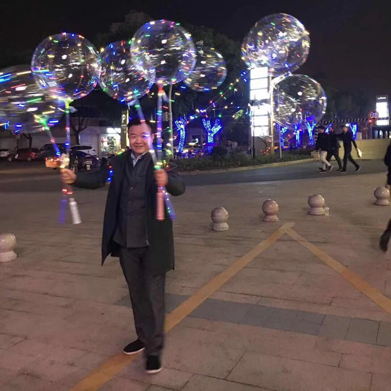 Alibaba Hot Sell 2019 Colorful Light 18inch Party Decorations Bobo Clear Round Shape Led String Balloon With 80cm Stick