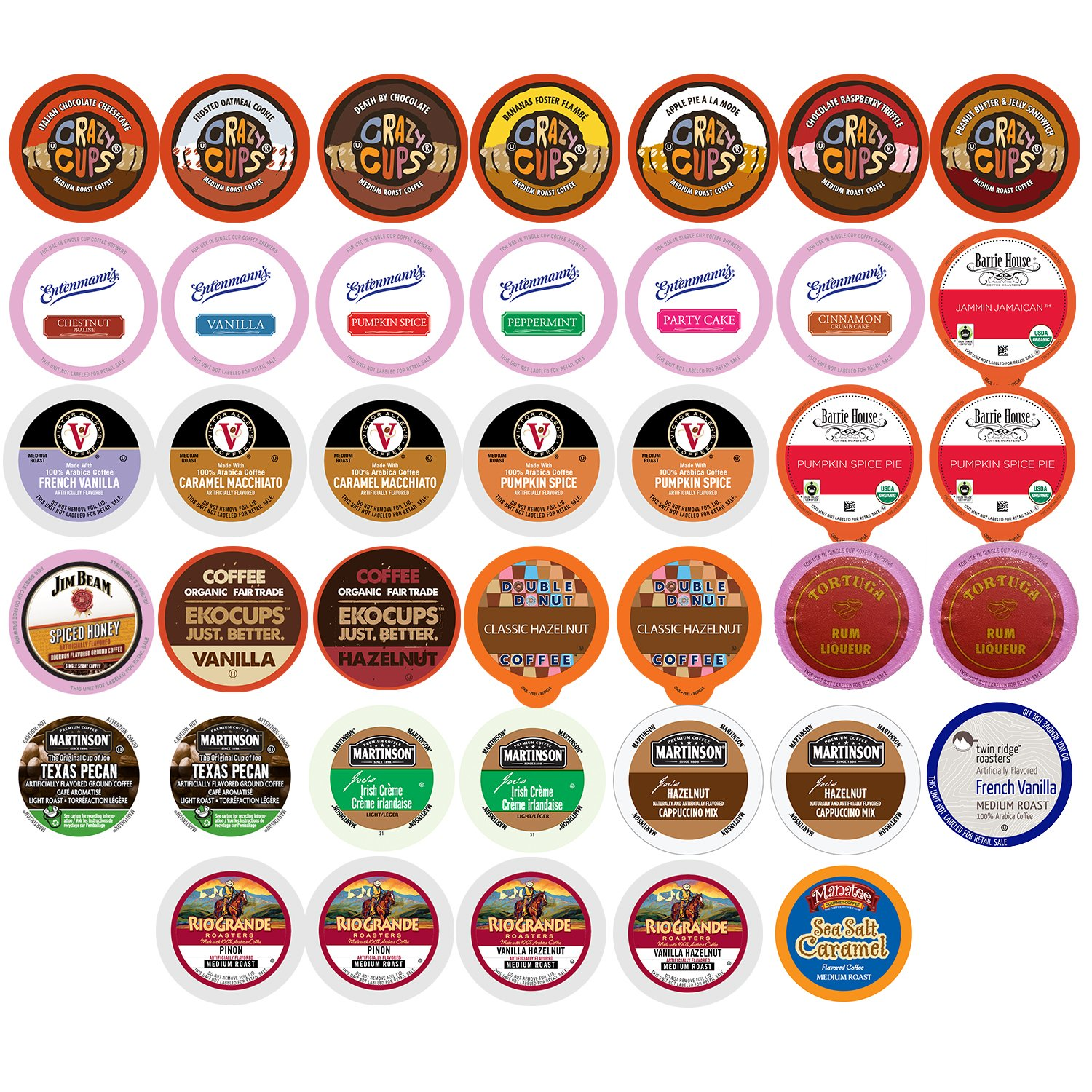 Flavored Coffee Single Serve Cups For Keurig K cup Brewers Variety Pack Sampler, 40 count (Flavored Sampler)