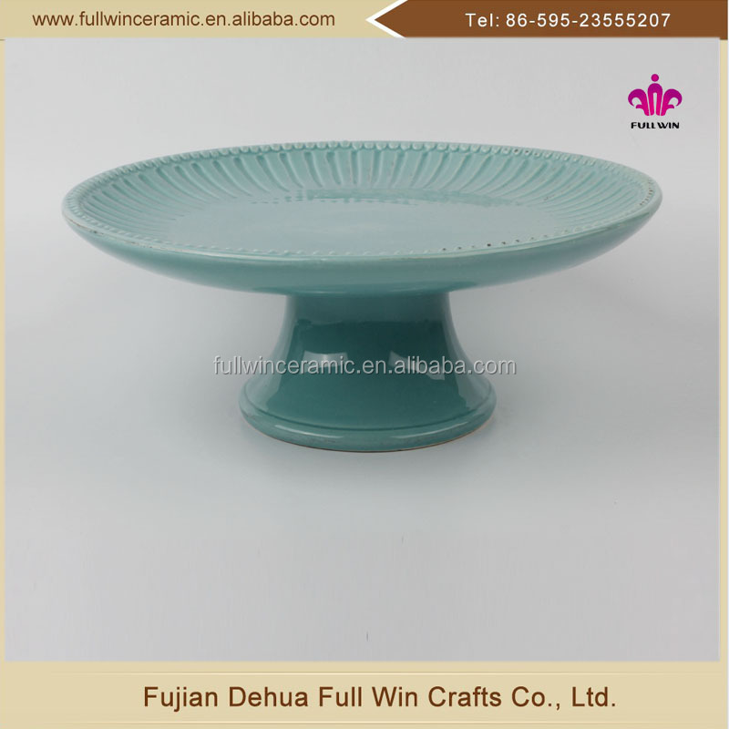 10.5 inch dolomit Ceramic Type and Eco-Friendly Feature wholesale gift ceramic cake stand with blue colorglazed
