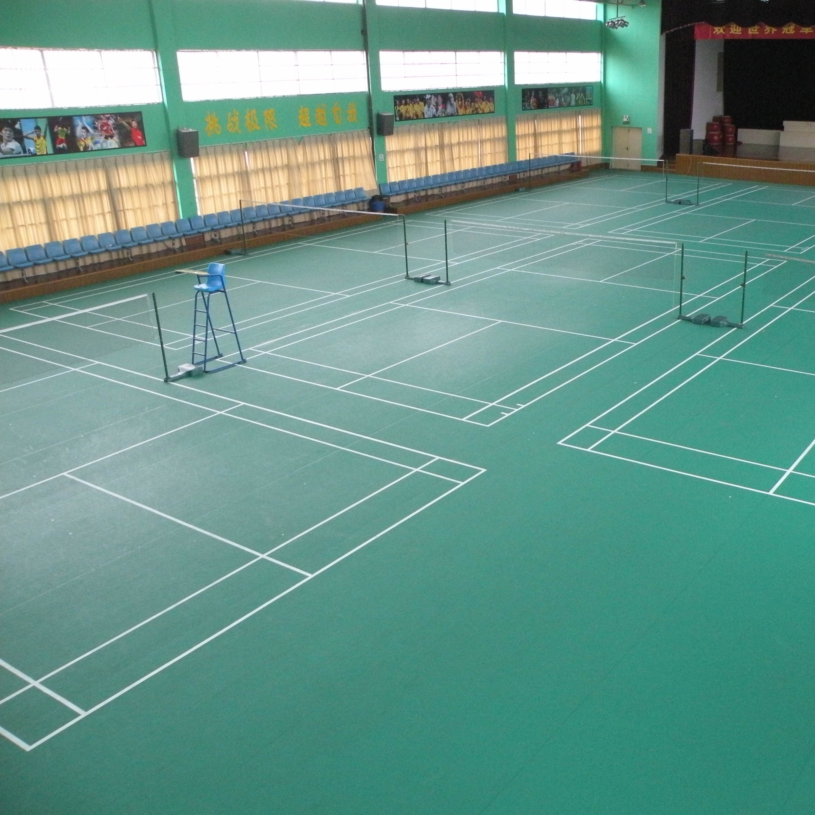 Standard size and green color badminton court <strong>floor</strong> color