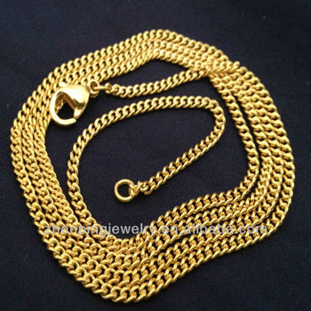 3862ff2794713 24k Gold Plated Stainless Steel Men's And Women's Cuban Link Curb Chain  Necklace - Buy Cuban Link Necklace,Men's And Women's Chain Necklace,24 K  Gold ...