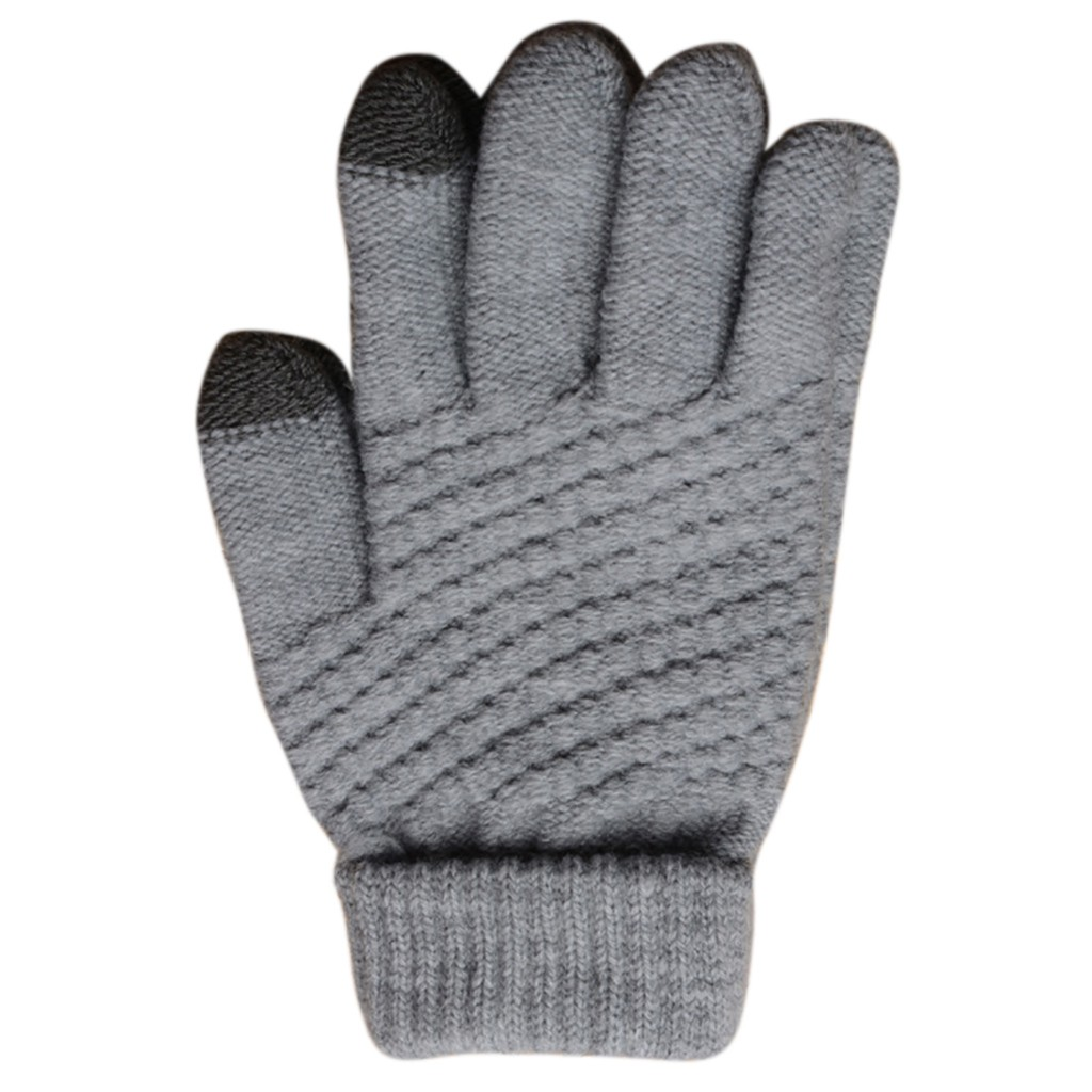 Womens Men Wintergeometric Knit Click Touch Screen Gloves Screen Fingers Screen Warm Fleece Gloves Vingerloze Handschoenen Apparel Accessories