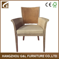 vintage style leather back rattan arm upholstered living room chair