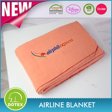 Oeko-tex high quality fabric embroidery airline fleece blanket with embroidery logo