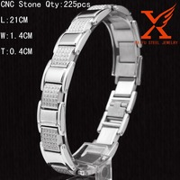 Fashion Hip Hop Jewelry Male Bracelet 316L Stainless Steel CNC CZ Stone Mens Watch Strap Handmade Bracelet
