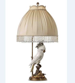 Enamel Ceramic Cockatoo Sculpture Decorative Table Lamp.Porcelain With  Bronze Desk Lamp With Shade White