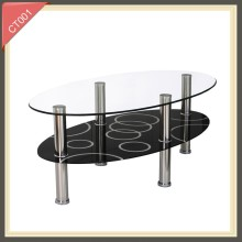 Modern delicate design stainless steel leg glass coffee table CT001