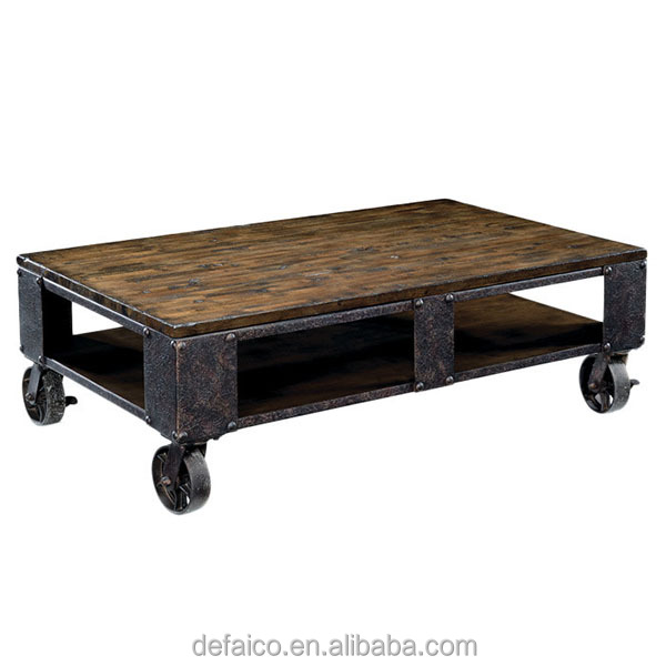 Rustic Industrial Style Living Room Coffee Table With Wheels Buy