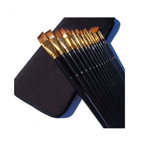 15 Piece Artist Paint Brush Set for Watercolor, Acrylics, Oil & Face Painting with Carry Case/Pop Up Stand