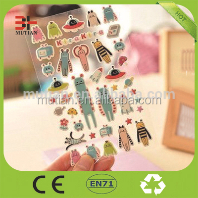 foam self-adhesive custom transparent pvc stickers for kids printer