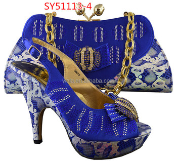 Beautiful Italian Shoes And Bags To Match Women Sy51113 4 Royal Blue High Heel